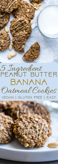 Healthy Peanut Butter Oatmeal Banana Cookies - These gluten free oatmeal cookies use only 5 simple ingredients and are dairy free and vegan friendly! A healthy treat for kids and adults that can be a breakfast or snack! | Foodfaithfitness.com | @FoodFaithFit | vegan oatmeal cookies. gluten free breakfast cookies. breakfast cookies. healthy oatmeal cookies. peanut butter oatmeal cookies. healthy breakfasts for kids.