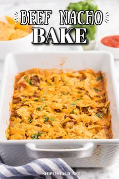 Beef Nacho Bake - This beefy nacho casserole is a welcome change from the traditional Taco Night. It hits all the right notes with cheese, beef, salsa and crunchy tortilla chips. Beef Casserole, Casserole Dishes, Casserole Recipes, Soup Recipes, Baked Nachos, Potato Nachos, Easy Baking Recipes, Easy Dinner Recipes, Cooking Recipes