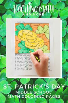 Reviewing Expressions and Equations? My kids LOVE these math worksheets! Print and color math to make beautiful pictures for Saint Patrick's Day! Makes a beautiful bulletin board of student work when they are finished. Perfect for middle school grades 6, 7, 8. Try a math printable coloring page today!