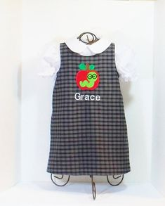 GIRLS PLAID SCHOOL Dress Size 12mo to 8 Apple by SewSweetStitchery, $29.00