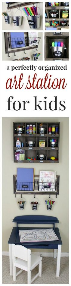 A perfectly organized art station for kids- great way to organized art supplies for easy set up and clean up of art or craft projects from toddler to elementary schoool age organization art supplies An organized art station for kids Sewing Projects For Kids, Craft Projects, Playroom Organization, Playroom Ideas, Organization Ideas, Woodworking For Kids, Toy Rooms, Art Station, Organizing Your Home