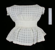 Pinafore, child's, off-white cotton, check weave, 1860-1869   Museum Online Collections   Wisconsin Historical Society