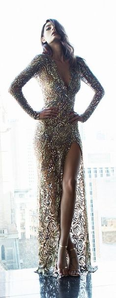 Demure, golden gown. If I owned this dress I would wear it every day for at least a few minutes.