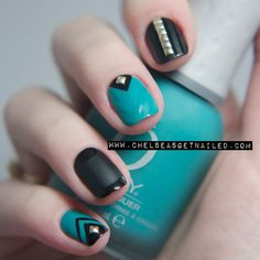Combine matte and shine polishes with simple studs for a glamorous weekend mani! #mani #nailart