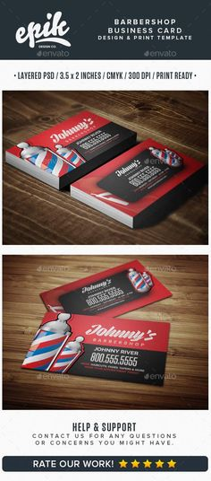 Barber shop business card by inspyredesign on etsy barbers barbershop business card template wajeb Choice Image