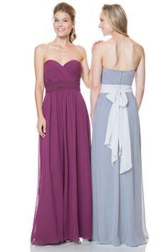Bari Jay Bridesmaids | Bridesmaid Dresses - Sweetheart shirred bodice with tie back sash. Two tone or solid. #BridesmaidsDress #Bridesmaids #WeddingStyle #WeddingFashion