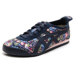 ASICS ONITSUKA TIGER Womens MEXICO 66 Shoes in William Morris, Liberty Print, Strawberry Thief / Mid Night Blue