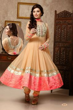 Cream Net #Anarkali #Suit with Embroidered and Lace Work - Rs. 8,399.  #zohraa