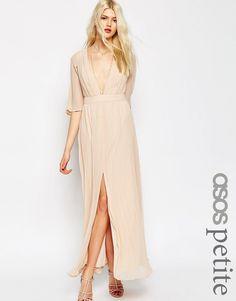 Image 1 ofASOS PETITE Pleated Flutter Sleeve Maxi Dress #pastel