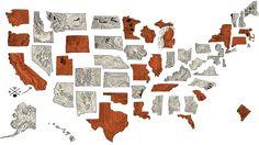 Creative Handrawn Map - US Locations Handsome Coffee Roasters