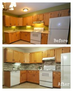 Kitchens With White Appliances And Oak Cabinets For Gray Kitchen Walls With Maple Cabinets Going Rh Pinterest Com Orange Oak Cabinets White Appliances Architecture Home Design