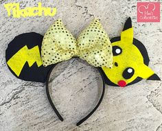 Pikachu Pokemon Inspired Mouse Ears by MimisCollectibows on Etsy