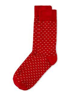 Chaussettes rouges motifs carrés et pois