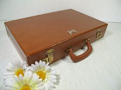 Retro Saddle Brown Leatherette & Brass Attache by DivineOrders