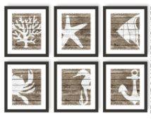 Rustic Nautical Print Set of 6, Faux Wood, Nautical Bedroom, Sea Decor, Nautical Nursery, Rustic Beach Decor, Beach Cottage, Sea life art