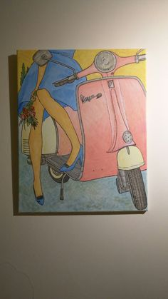 Painting for sale, australia. Canvas multimedia vespa retro scooter lifestyle painting feature piece