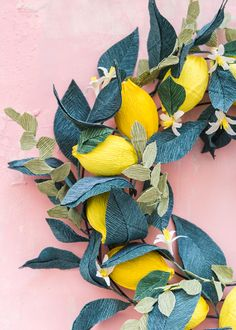 Nesting with Nest + Crepe Paper Lemon Wreath - The House That Lars Built Paper Flower Wreaths, Crepe Paper Flowers, Crepe Paper Decorations, Lemon Wreath, Paper Peonies, Chocolate Bouquet, Travel Design, Diy Paper, Crepe Paper Crafts