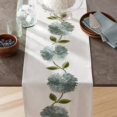 Large chrysanthemum-like flowers vine on our gorgeous natural cotton table runner, brilliantly embroidered with tonal blue petals and bright green leaves. Xmas Crafts, Crafts To Sell, Fabric Paint Designs, Barrel Furniture, Table Runner Pattern, Machine Embroidery Designs, Embroidery Ideas, Table Linens, Crate And Barrel