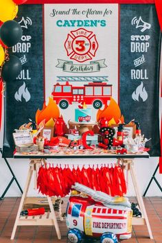 What a fantastic firetruck birthday party! See more party ideas at CatchMyParty.com!