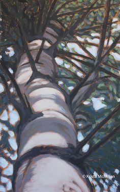 All of my tree paintings are inspired from my time walking on the Bruce Trail or just spending time outside in natural spaces. I take multiple photos of my surroundings from different angles and then edit the photos to achieve the desired composition for the painting. Tree Painting by Krista McMillan.