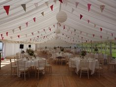 Vintage Marquee with paper lanterns, bunting and fairy lights