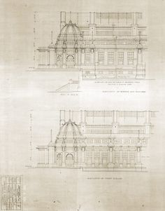 Architectural blueprint for the bank of commerce building for Cheap architectural drawings