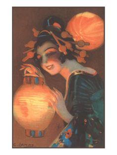 Geisha with Japanese Lantern Giclee Print at Art.com