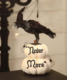 "Edgar Allen Poe. Raven ""Never More"". Classic white and black Halloween."