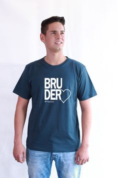 Fair Trade T-Shirt Bruderherz denim blue - knopfgelb onlineshop
