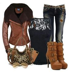 #Brown leather jacket ##Leopard purse #Cognac high heel boots
