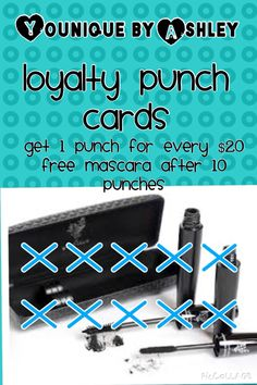 I am now offering punch cards to those who order online!! For every $20 spent you get a punch! After all 10 are marked off you will receive a FREE mascara from me!!!   https://www.youniqueproducts.com/AshleyThompson21/party/1260939/view