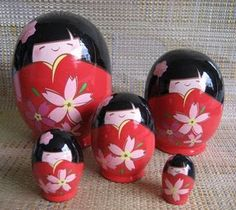 Kokeshi nesting dolls  So cute