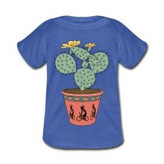 Pear Cactus Bike In Pot With Kokopelli On Bike Baby