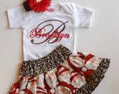 Personalized Baby Girl Christmas Outfit Baby Girl Clothes Christmas Dress Newborn Girl Take Home Outfit Cheetah Santa 0-3 mon up to 5t