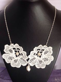 Statement Double Lace Necklace with Pearl Embellishment by RosaJaanLoves on Etsy https://www.etsy.com/listing/246715137/statement-double-lace-necklace-with