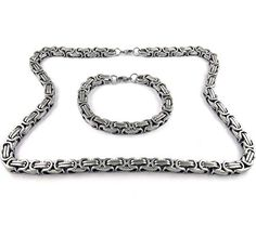 Men's Stainless Steel Mechanic Bracelet Necklace Link Byzantine Chain Set Silver Color by Yeidid International -- Awesome products selected by Anna Churchill