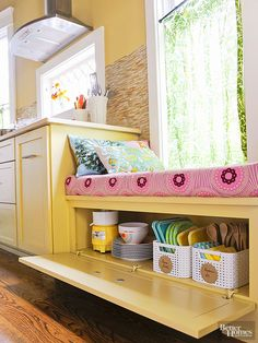 Don't overlook the storage potential of a window seat or banquette bench. Utilize the space underneath to tuck away baskets filled with wooden utensils, silverware, and paper napkins. Keep the area open or conceal with a hinged cabinet door. Kitchen Organization, Kitchen Storage, Storage Spaces, Kitchen Nook, Storage Organization, Kitchen Decor, Pan Storage, Bench With Storage, Storage Ideas