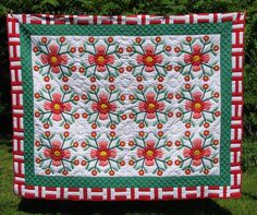Queen Quilt Rose of Sharon Vintage Handmade never used Red Coral White Appliqued