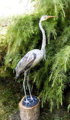 by Sandra June Originals. My first grey heron Sandra June Sculptures No longer available