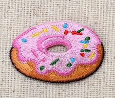 Iron On Embroidered Applique Patch Pink Frosting Donut Sprinkles Sweet Treat