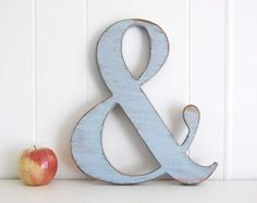 Ampersand wedding sign Wooden Shabby Chic sign Photo prop wood sign Soft Blue    --->>> MADE TO ORDER, so please be sure to check our current production time: http://www.etsy.com/people/OldNewAgain     Our new style of ampersand!  Shown here in our sweet Soft Blue.    Classic yet modern, we...    $32