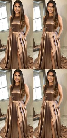 Simple Long Prom Dresses A-Line Evening Formal Dresses with High Slit Inexpensive Bridesmaid Dresses, Affordable Prom Dresses, Cheap Prom Dresses, Cheap Wedding Dress, Girls Dresses, Promotion Dresses, Military Ball Dresses, Formal Evening Dresses, Knee Length Dresses