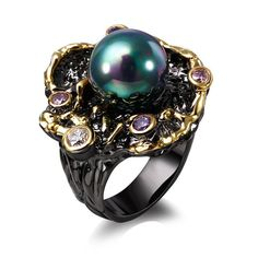 Trendy pearl Ring black and 18k gold plated with cubic zircon & fresh water pearl flower ring fashion jewelry
