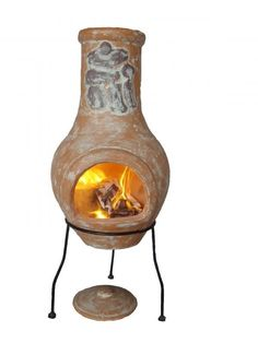 Clay chimenea with stand. This garden heater comes complete with rain lid for use when the chimenea has cooled down.This Mexican style chimenea would be a great addition to your garden keeping you warm all year round.Each chimenea is hand made and hand painted and therefore colours and patterns may vary slightly as each is unique.We recommend having smaller fires to begin with to allow your chimenea clay to expand slowly when new, we also suggest covering when not in use.