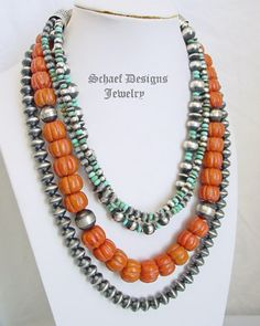 Schaef Designs Coral & sterling silver Navajo Pearl Southwestern basics necklace   New Mexico