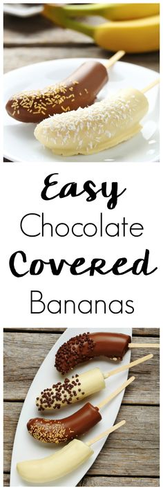 Making a fun dessert doesn't have to be hard. This easy to make Chocolate Covered Frozen Bananas Recipe uses ingredients you likely already have and comes together in about 30 minutes! #easydessertrecipes #easydesserts #easyrecipes #desserts #frozendesserts #kidfriendlydesserts #kidssnacks #kidfriendlyrecipes #chocolatecoveredbananas #chocolatebananas
