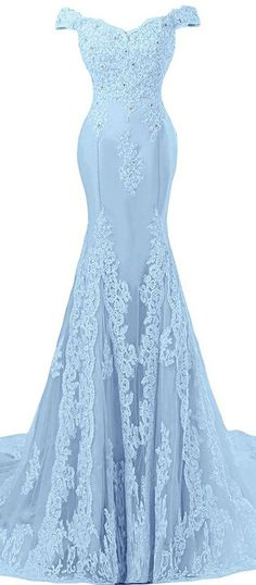 I wonder if this comes in black for bridesmaid dresses. Sunvary Off Shoulder Formal Lace Evening Gown I wonder if this comes in black for bridesmaid dresses. Sunvary Off Shoulder Formal Lace Evening Gown Blue Mermaid Prom Dress, Prom Dresses Blue, Mermaid Dresses, Trendy Dresses, Homecoming Dresses, Bridesmaid Dresses, Pastel Prom Dress, Glamorous Dresses, Dance Dresses