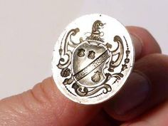 GS6-Antique-COTTRELL-of-HADLEY-Family-Heraldic-1800s-Silver-Fob-Wax-Seal