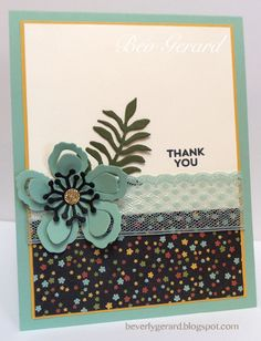 by Bev: Perfect Pairings (SAB), Botanical Gardens dsp, Gold Glimmer Paper, Botanical Builder framelits, Mint Macaron Lace Trim - all from Stampin' Up!