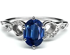 Oval Blue Sapphire Petite twisted pave diamond band Engagement Ring